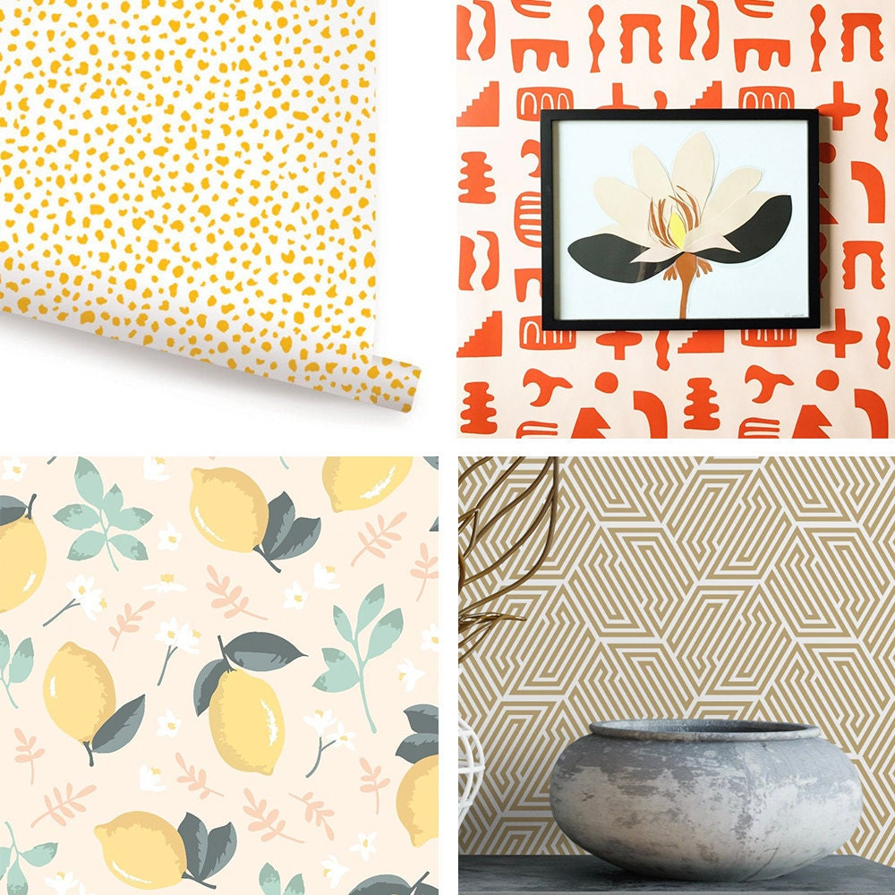 A collage of peel-and-stick wallpapers featuring the following designs: yellow speckles, peach and red shapes, gold art deco hexagons, and a lemon and mint print pattern.