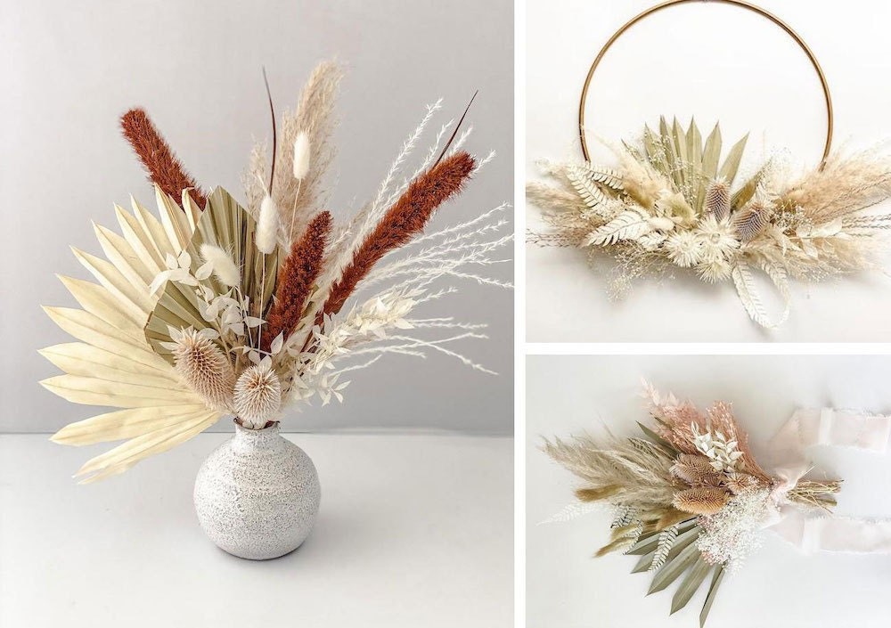 Assorted dried floral decor from Fern + Sunpalm