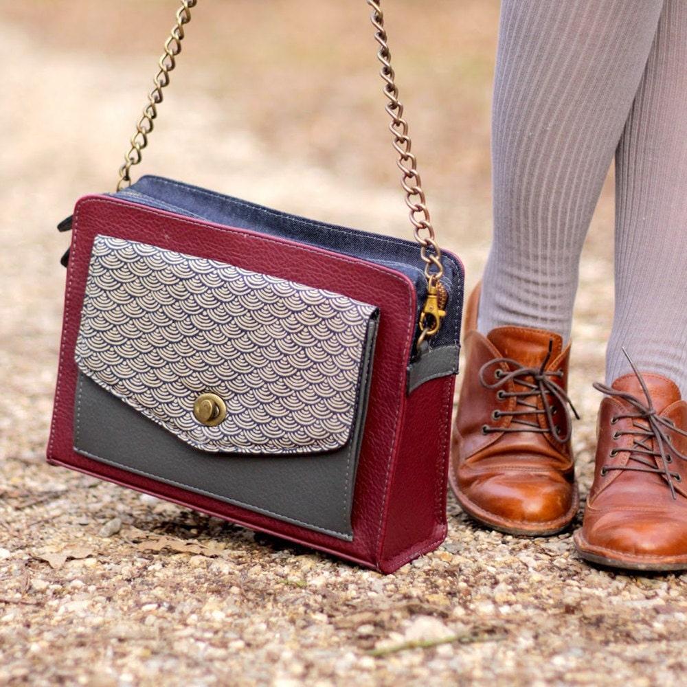 Burgundy vegan leather satchel from Boejack Design