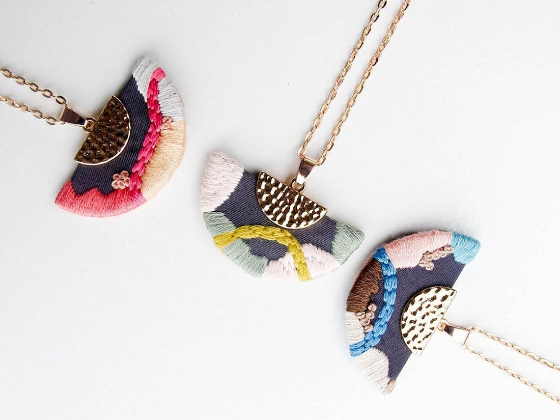 Embroidered abstract pendant necklaces from Thursday Craft Love