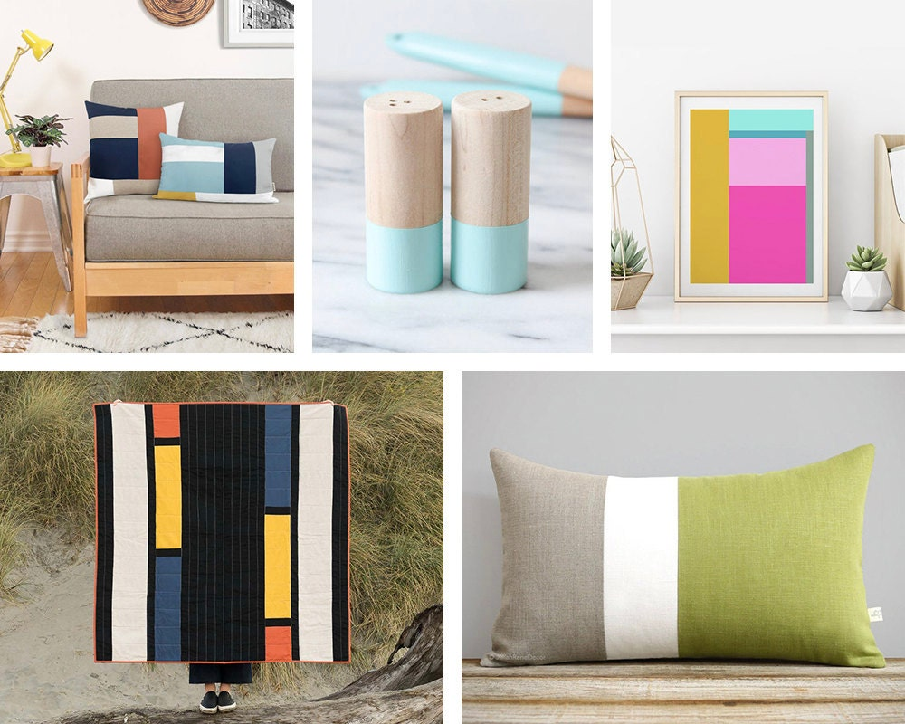 A collage of color block items available on Etsy