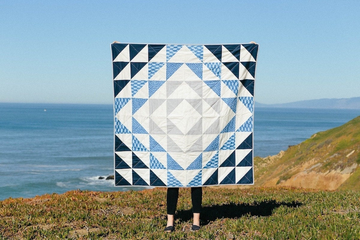 An ocean-inspired geometric quilt pattern from Etsy