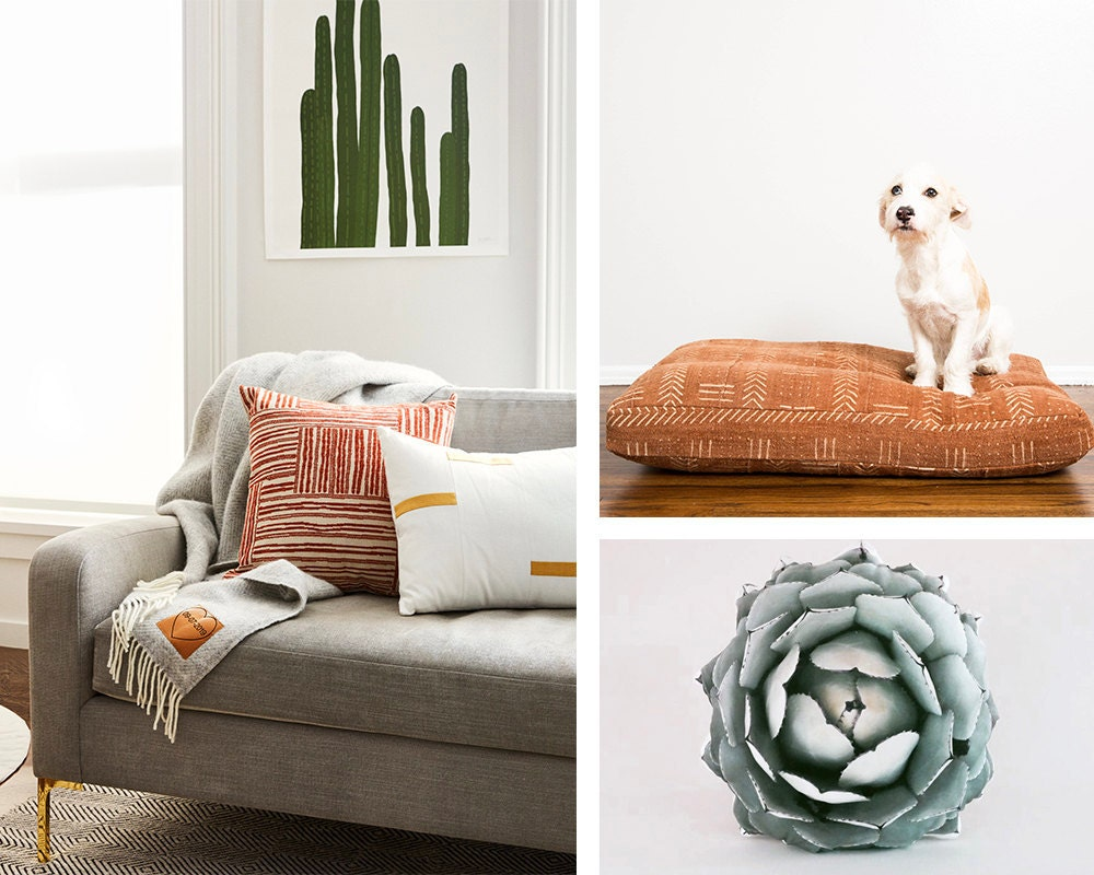 A collage of desert-chic decor from Etsy