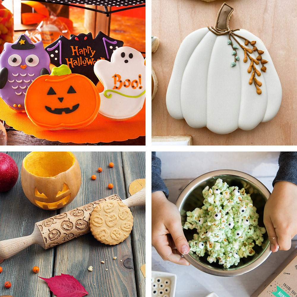 A collage of Halloween treats and DIY kits available on Etsy.