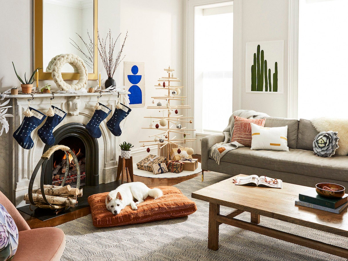 A festive living room styled with desert-chic holiday decor.