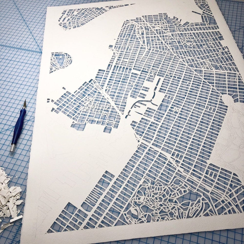 Close-up detail on a work-in-progress Brooklyn map