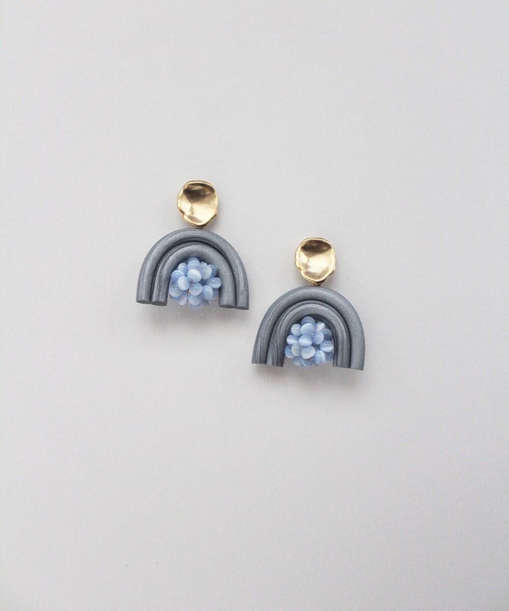 Steel blue rainbow earrings from TSUNJA