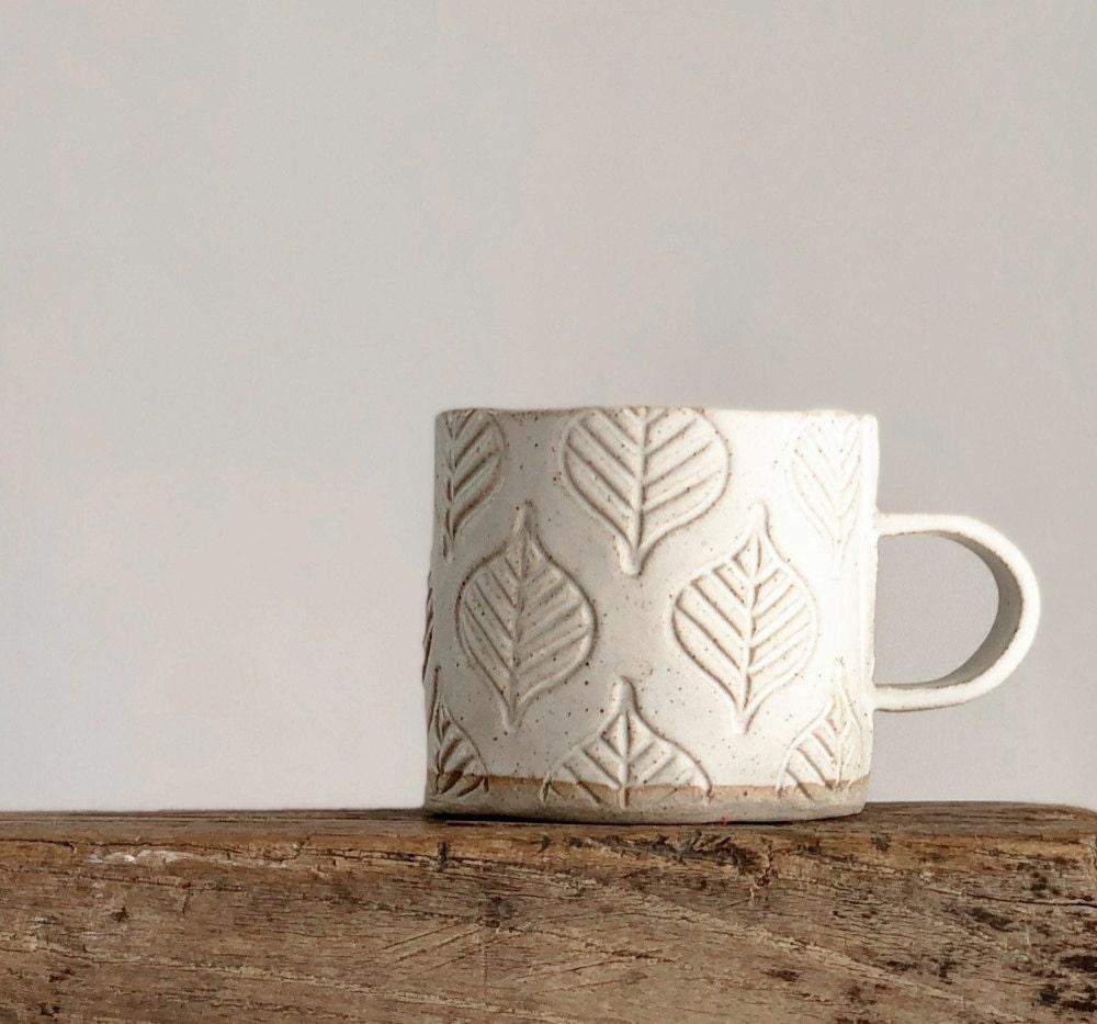 Leaf-patterned ceramic mug from Etsy seller Rebecca Williams