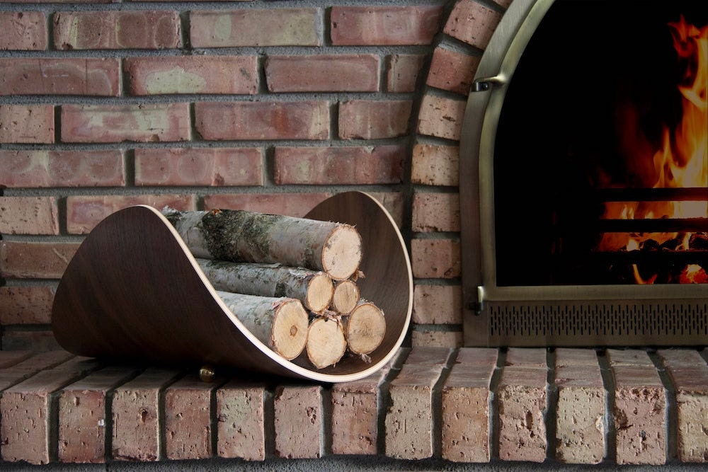Bent plywood firewood holder from Etsy seller Ciseal