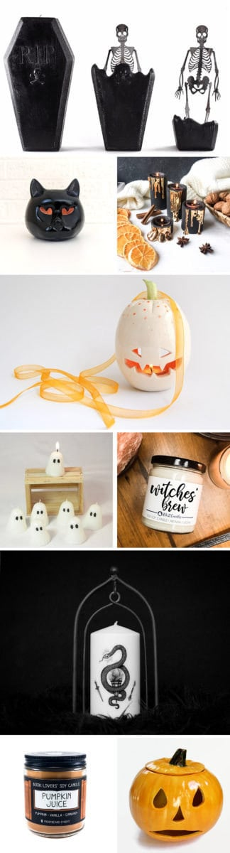 Halloween-themed candles and candleholders from Etsy