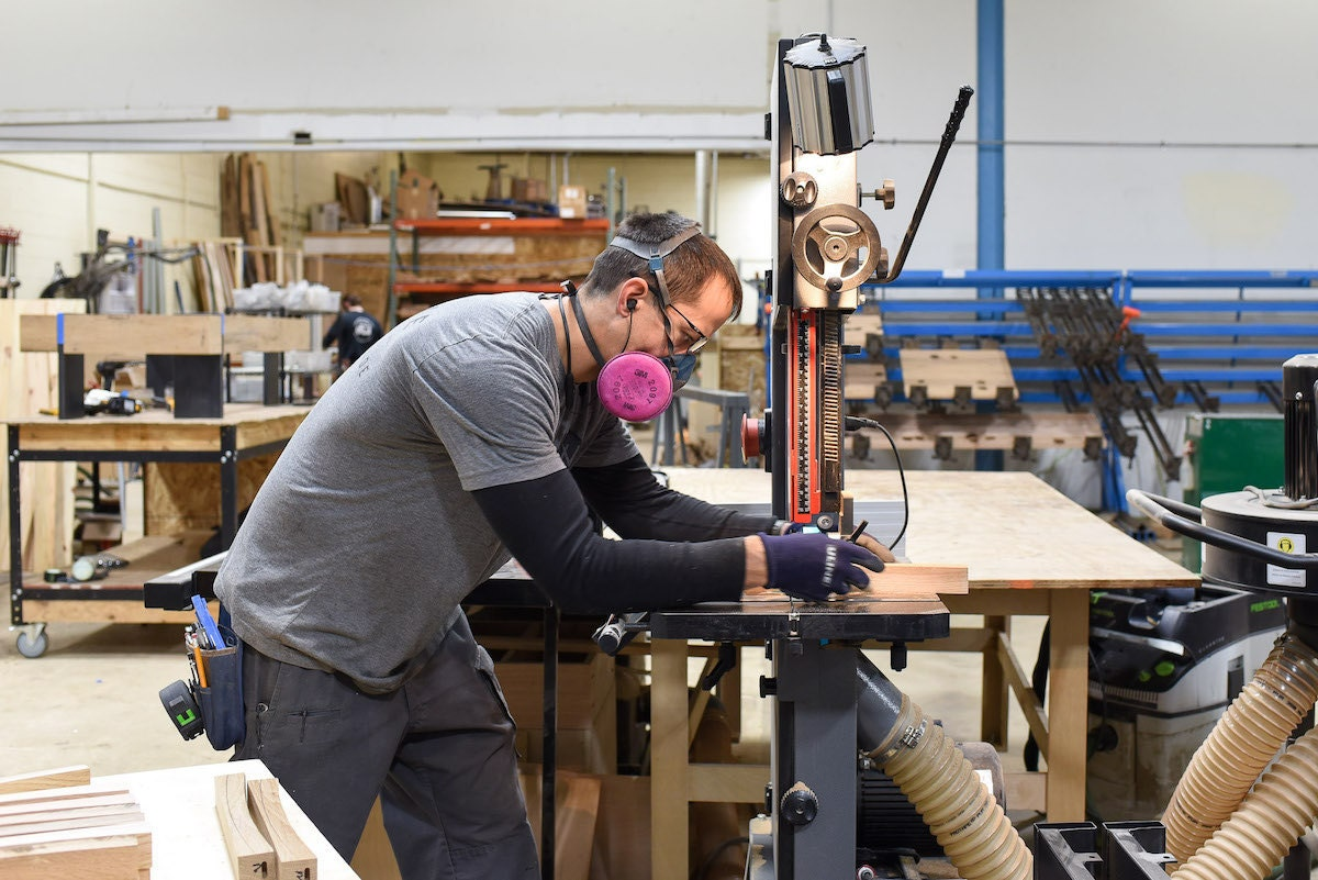 George at work on a piece of furniture in the What WE Make workshop