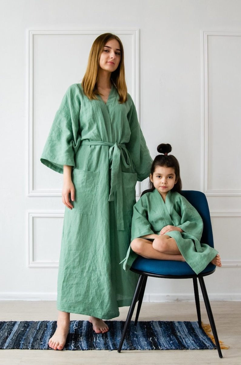 Stone-washed adult linen robe and stone-washed child's linen robe, both from BelEcoFlax