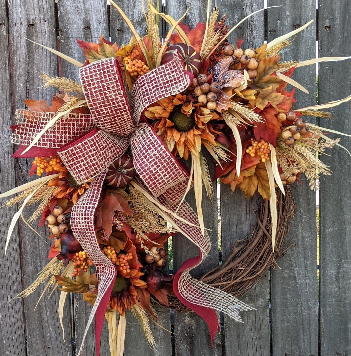 fall wreath with ribbon