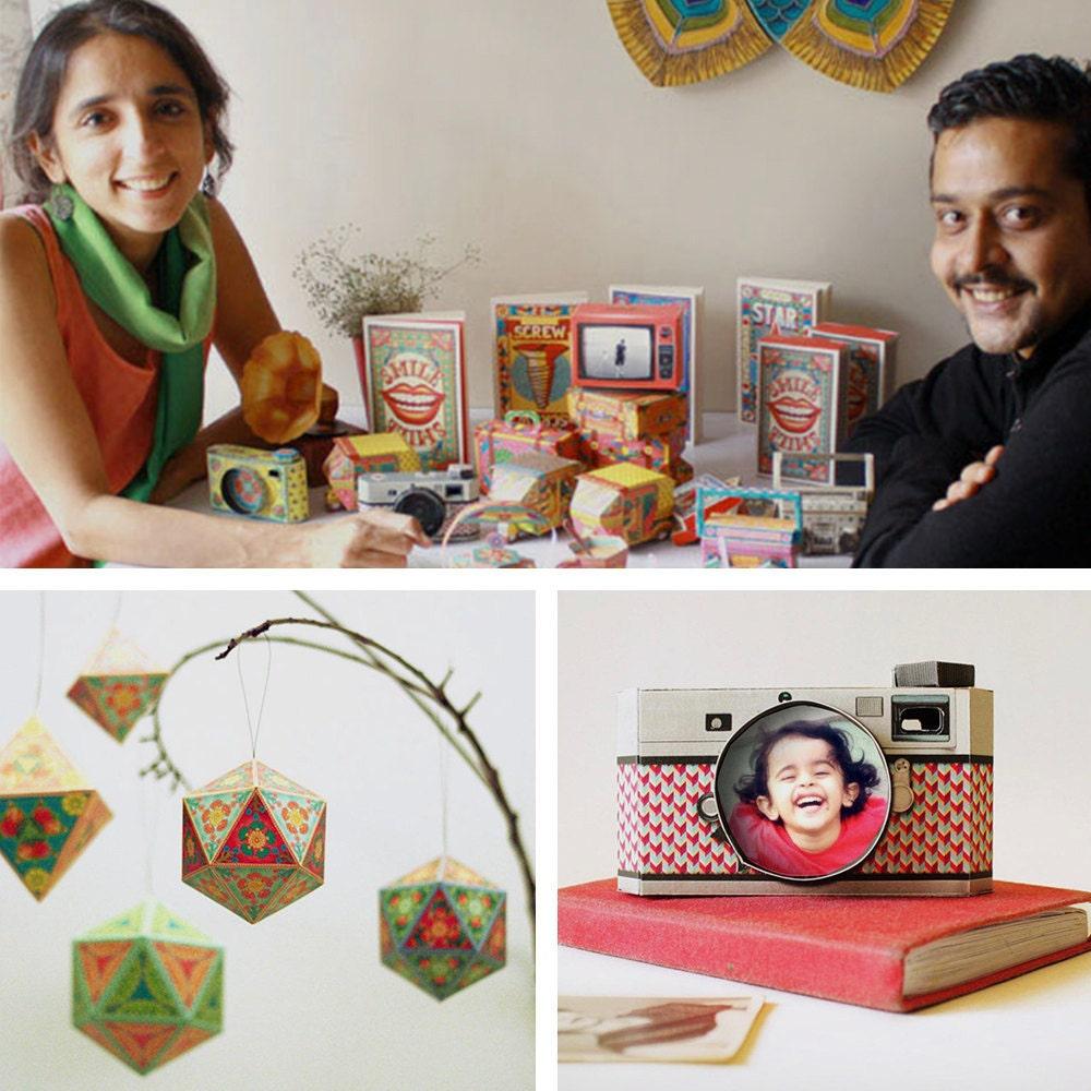 A collage featuring a portrait of Sky Goodies paper product designers Misha and Amit Gudibanda and a few of their foldable paper items, including a set of geometric ornaments and a photo frame shaped like a camera.