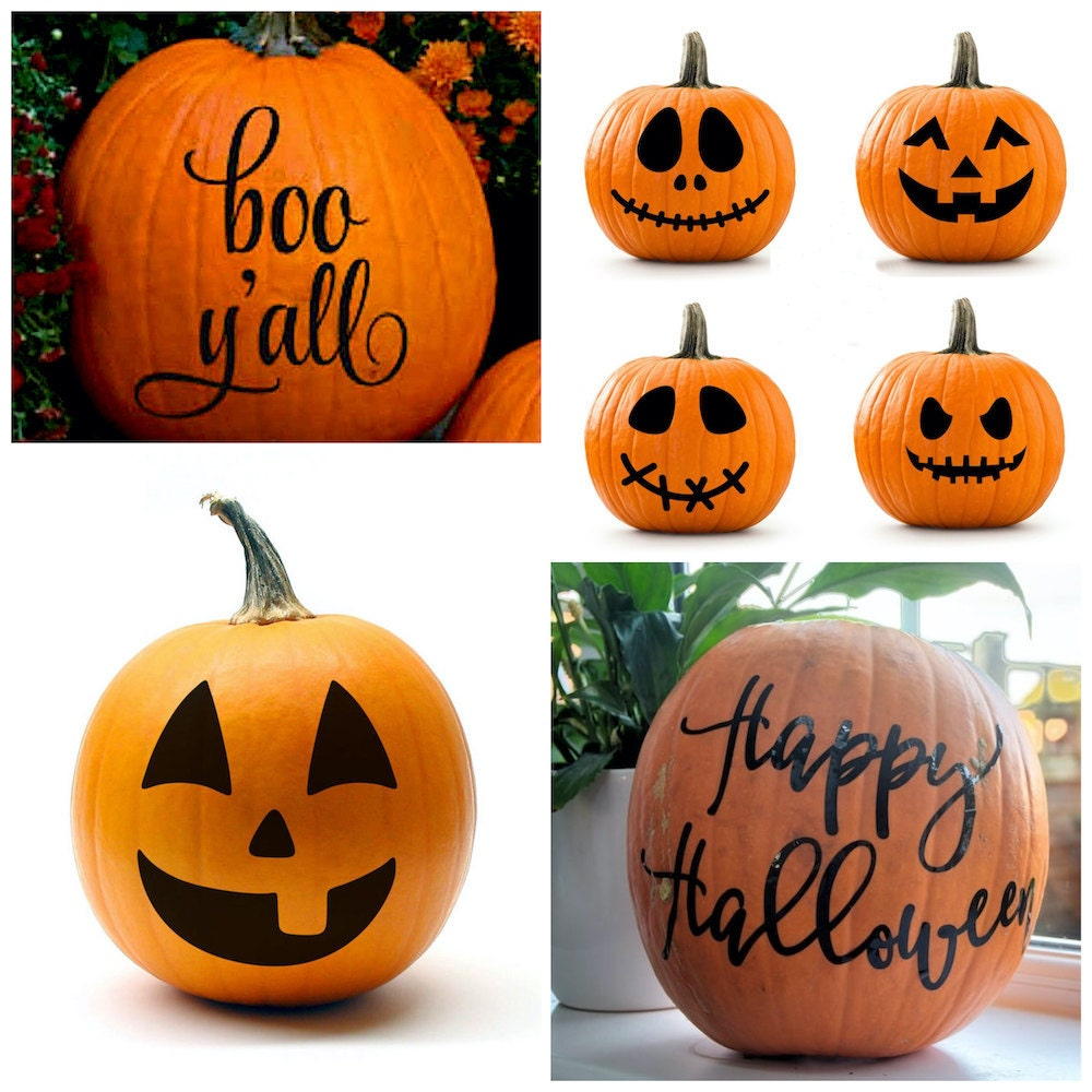 Pumpkin decorating stickers and decals from Etsy