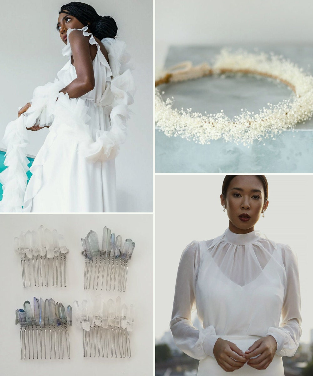 A collage of bridal accessories available on Etsy