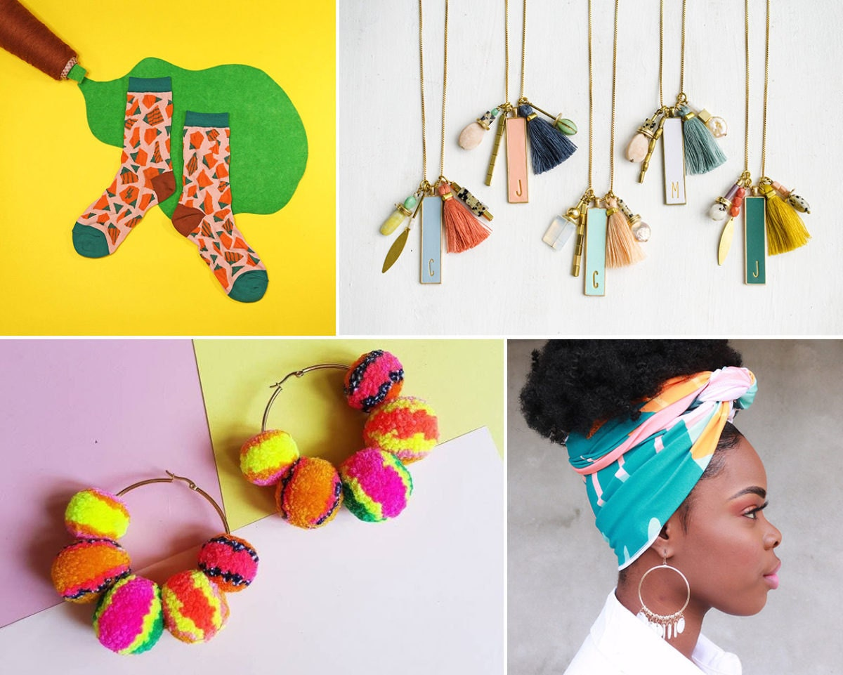 Collage of maximalist accessories from Etsy: colorful socks, personalized charm necklaces, a patterned head scarf, and multi-color pom-pom earrings