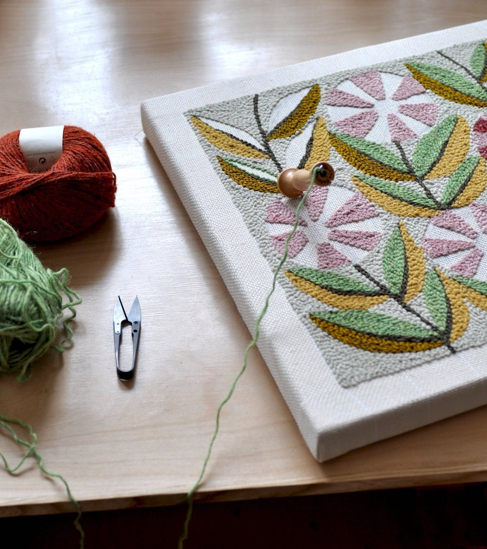 Punch-needle embroidery in progress