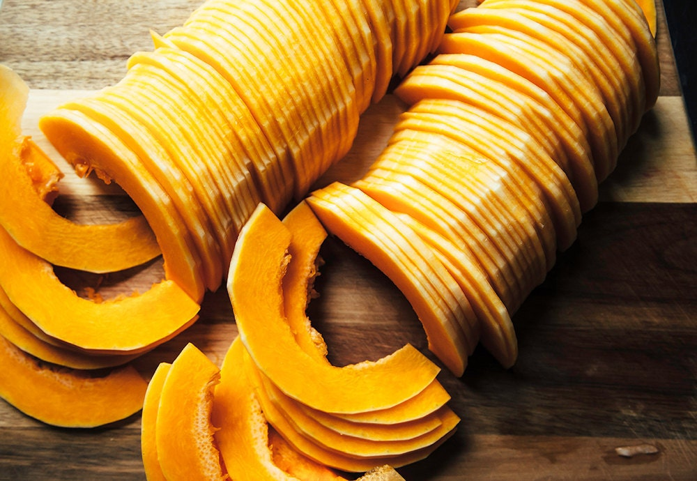 Thin slices of butternut squash