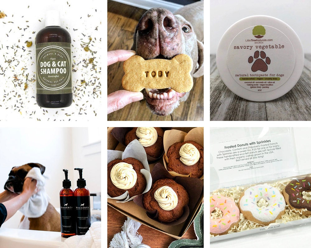 A collage of pet wellness items available on Etsy