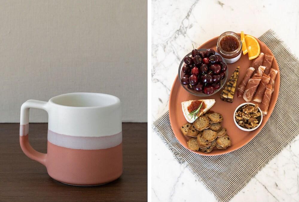 JoJo Fletcher x Etsy terracotta mugs and serving platter