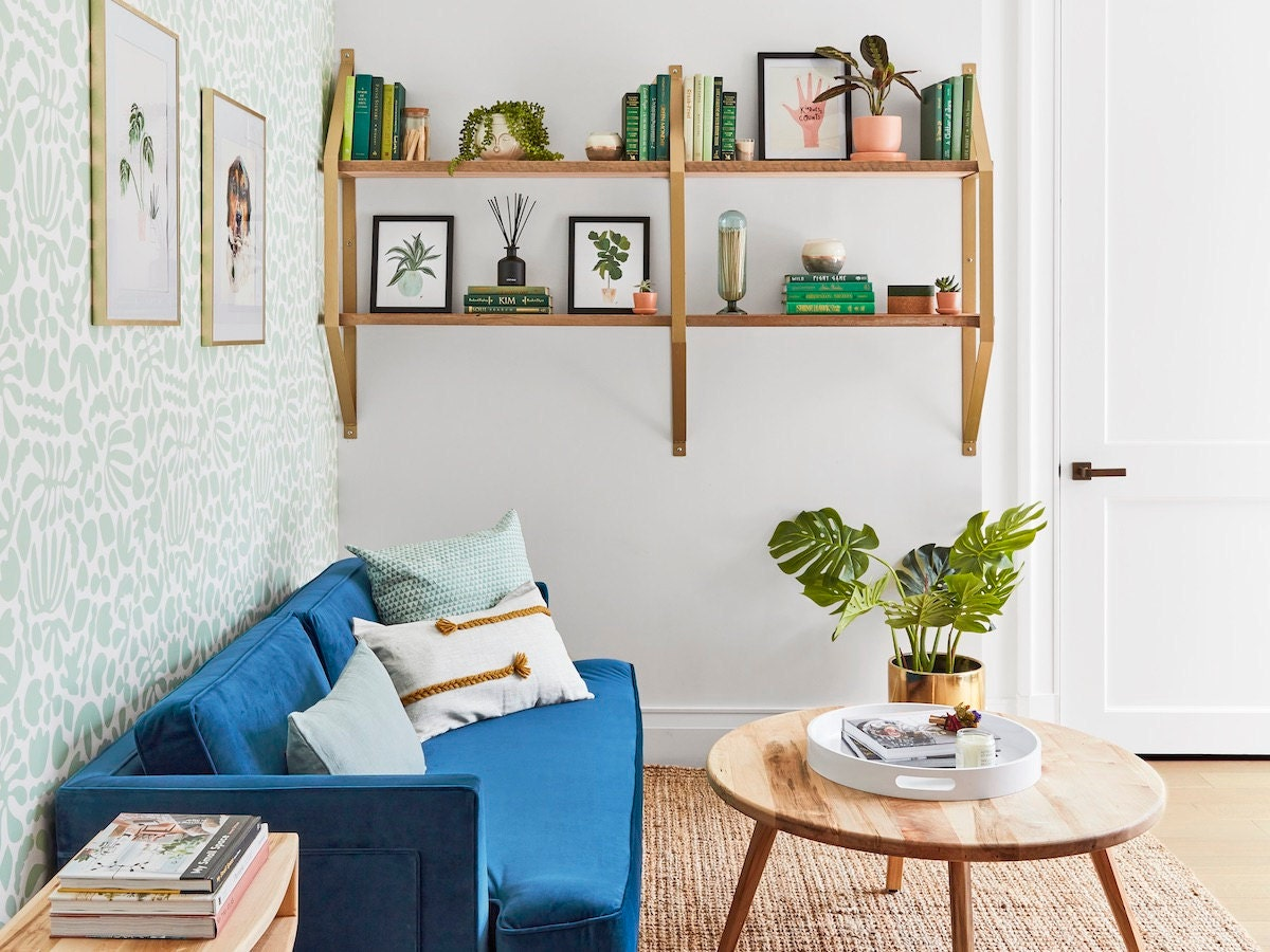A wide shot of the calm, creative workspace Etsy designed for the Real Simple Home.