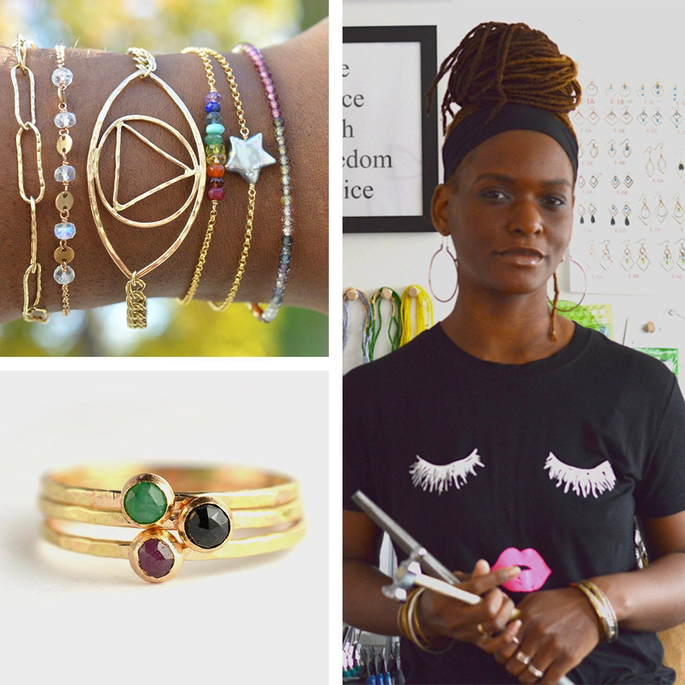 A collage featuring a portrait of Aquarian Thoughts jewelry designer Nadirah Bostick and a few of her stackable gemstone bracelets and rings.