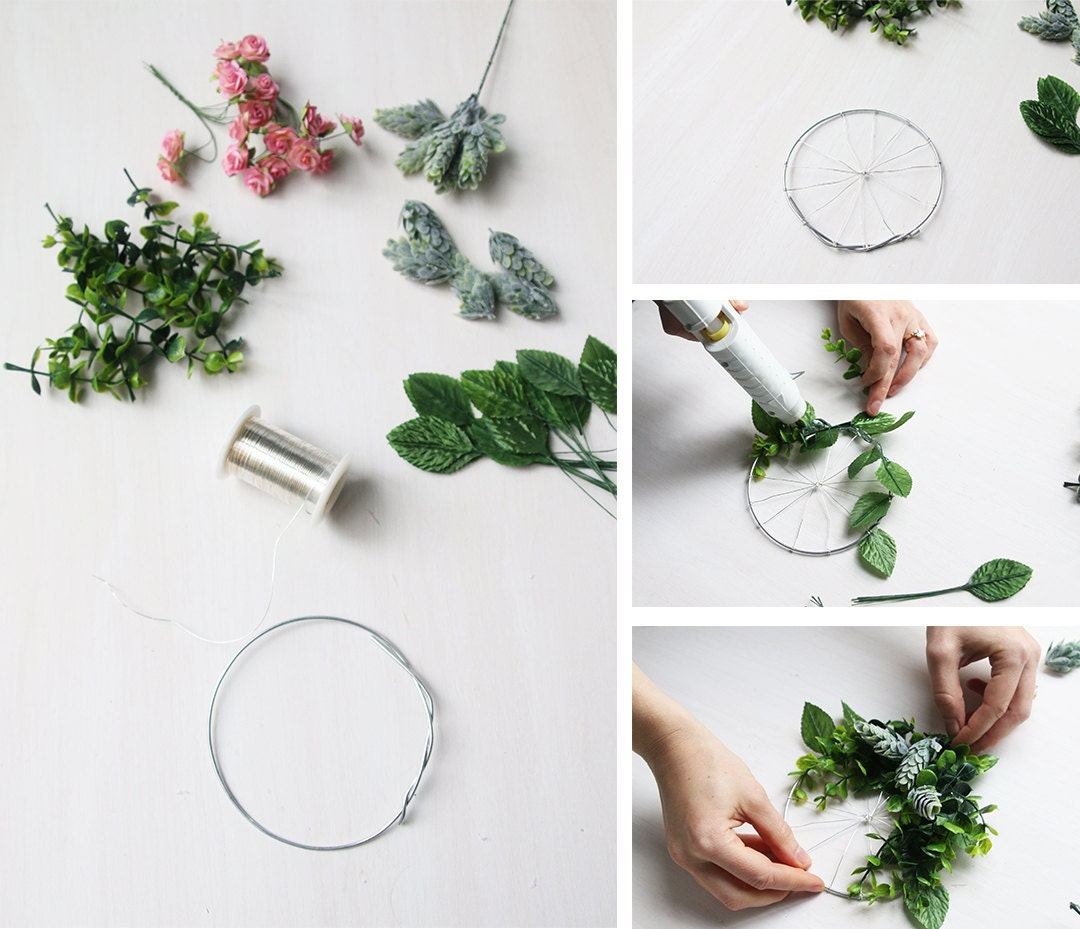 Photo collage showing how to DIY a wreath-shaped gift card holder in 4 steps