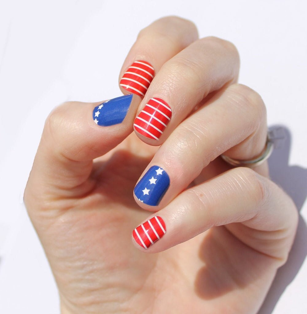 Stars and stripes nail decals from Etsy