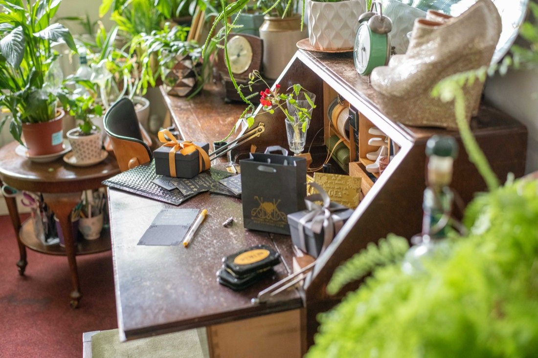 KK and Sebastian's sunny, plant filled studio and workbench