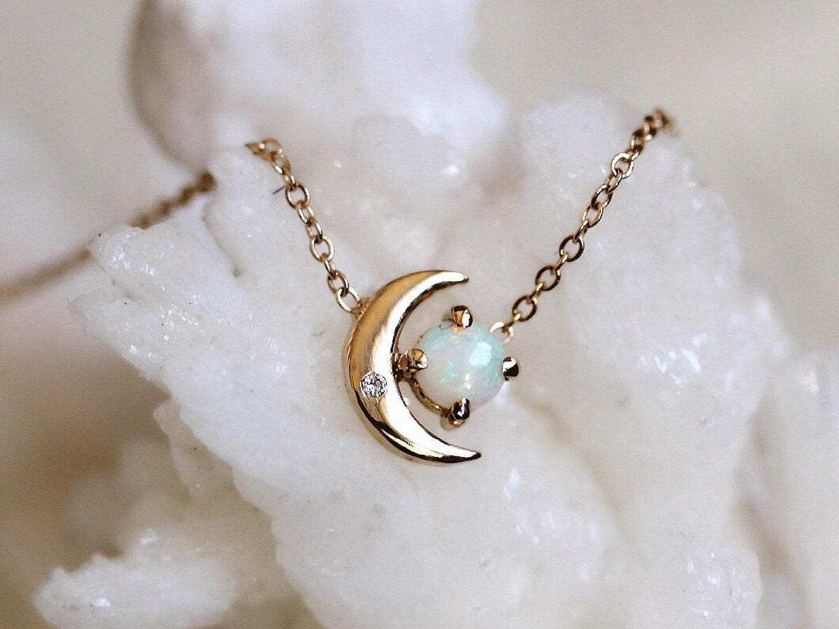 Opal and diamond crescent moon necklace from Liesel Love