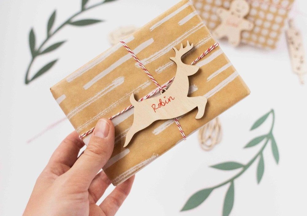 Half Baked Harvest x Etsy set of 3 laser-cut wood ornaments from Light + Paper