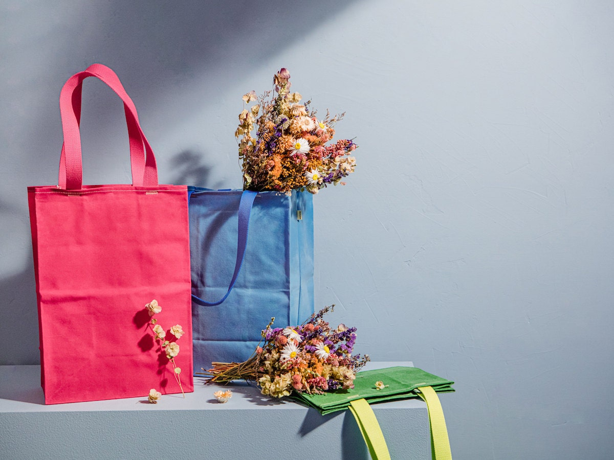 Tote bags and flowers from the Prabal Gurung Creator Collab
