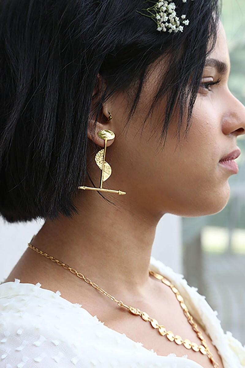 Brass statement earrings from Lingua Nigra