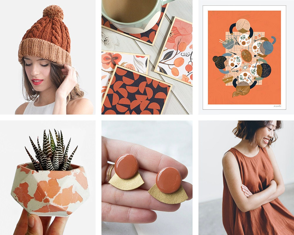 A collage of burnt-orange items from Etsy