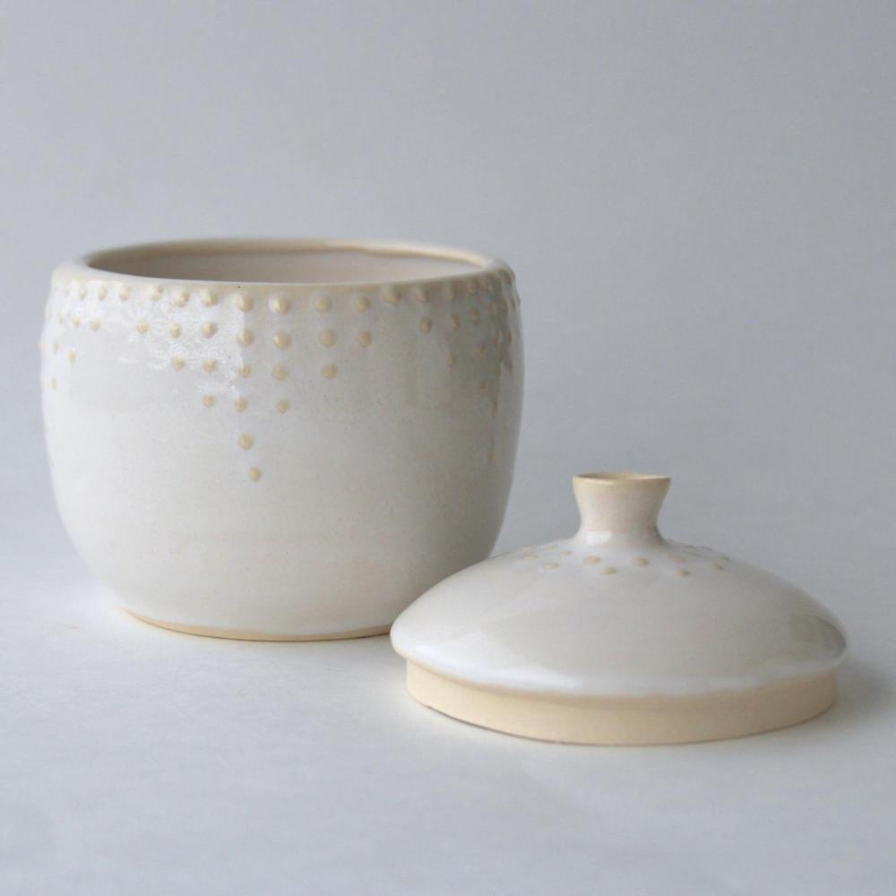 A ceramic lidded jar from Back Bay Pottery
