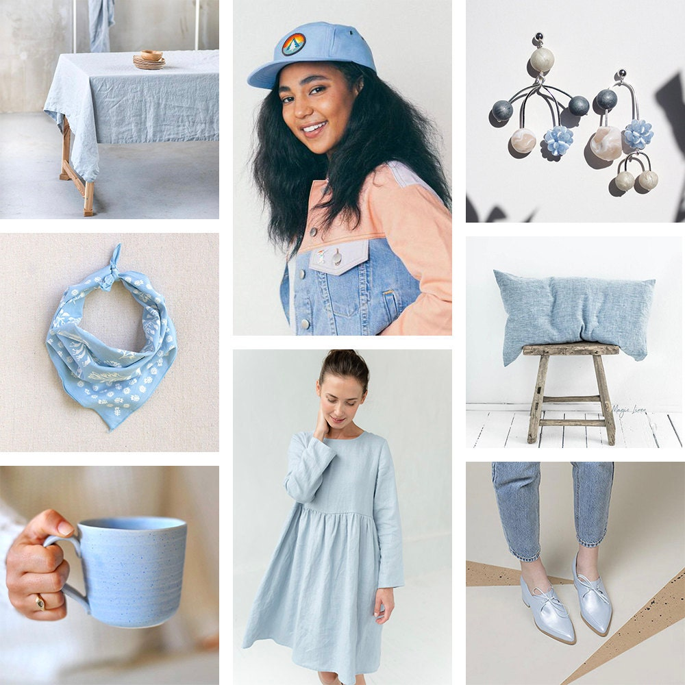 A collage of sky blue items available on Etsy
