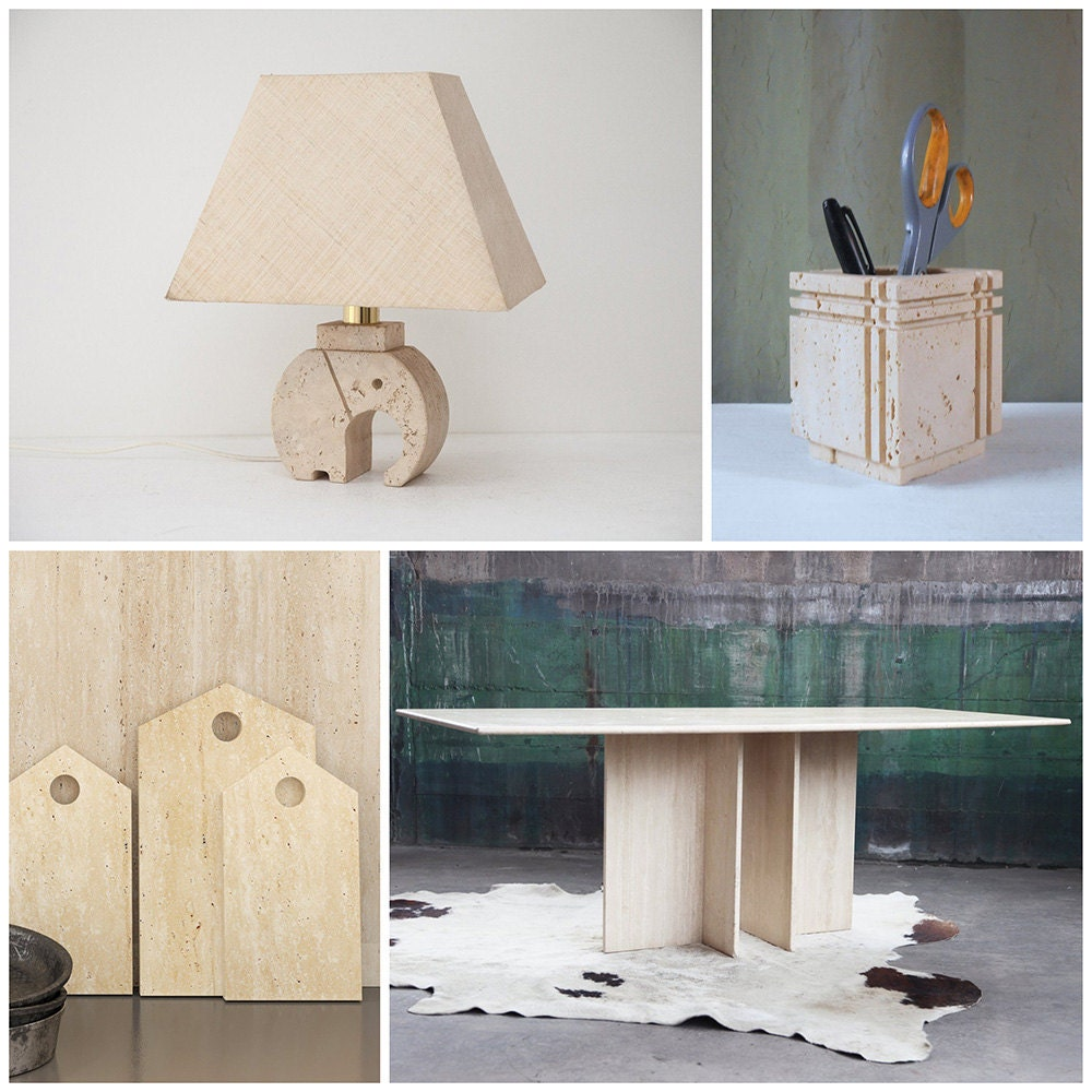 A collage of stony travertine home items