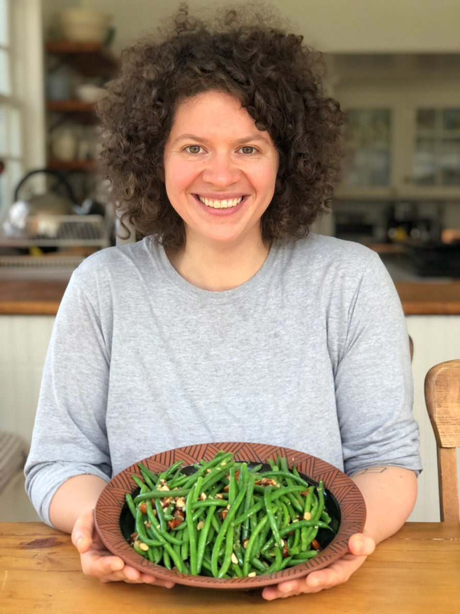 Julia and her completed green bean dish