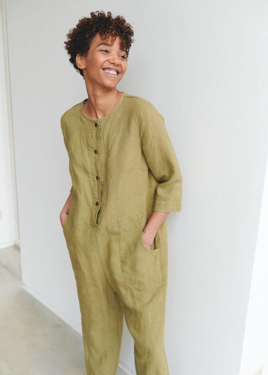 Heavy-weight fall fashion linen jumpsuit from Linenfox