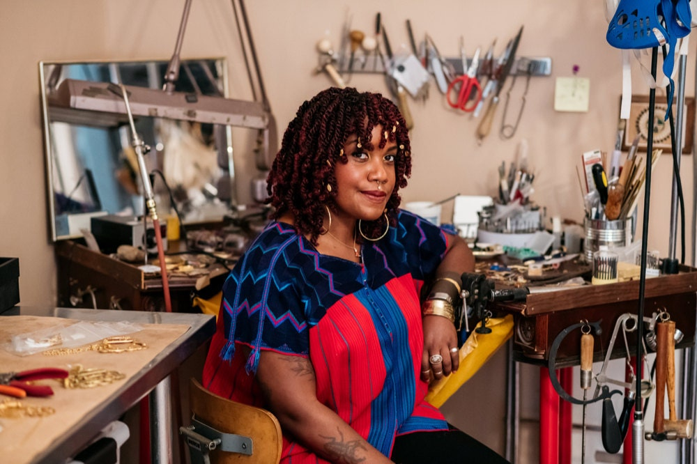Portrait of Lingua Nigra jewelry designer Alicia Goodwin