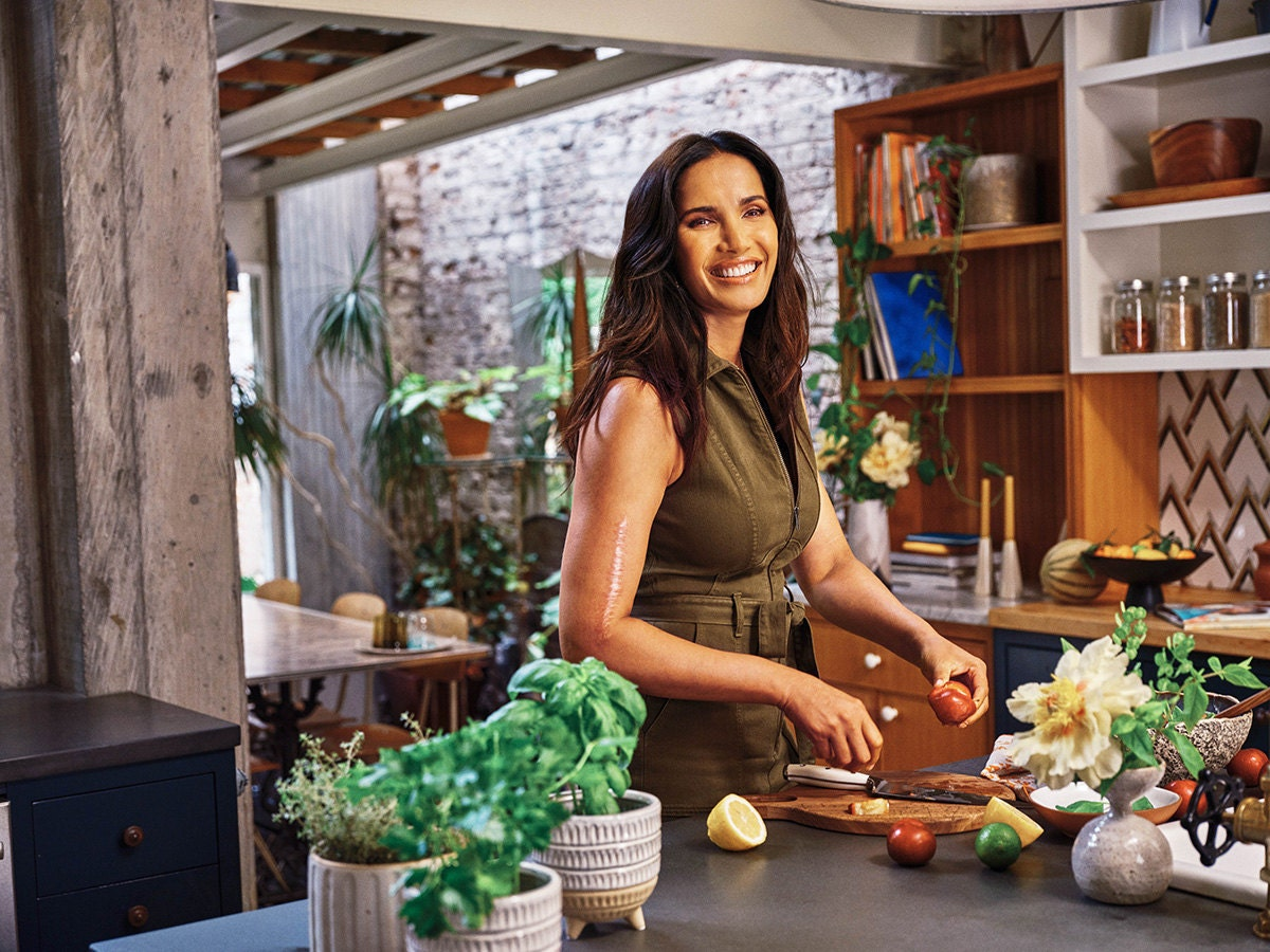 Padma Lakshmi in the kitchen