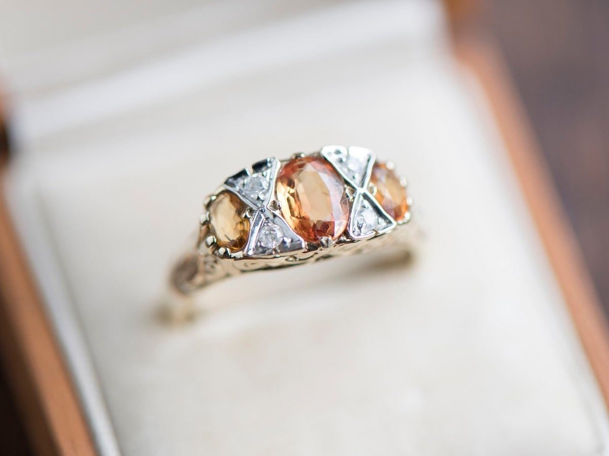 Citrine and diamond statement ring from KK Vintage Collection