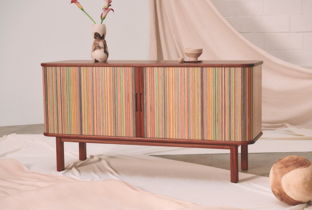The Etsy Design Awards Grand Prize Winner: an upcycled skateboard credenza from AdrianMartinus