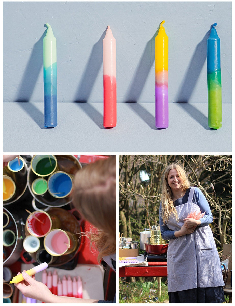 A collage of three images. Clockwise from top: four dip-dyed candles in rainbow colors; the maker; a work-in-progress photo of the maker dipping her candles in bright wax.