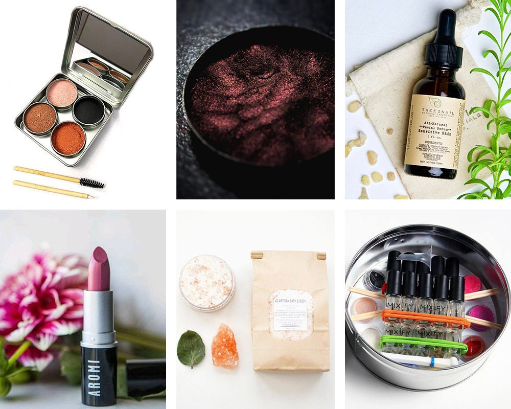 A collage of bespoke beauty products available on Etsy.