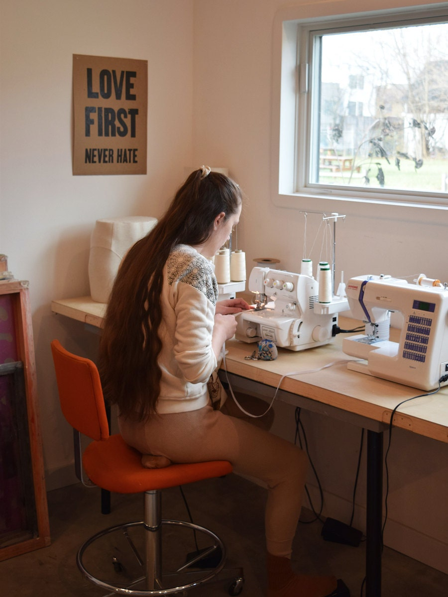 Object Apparel's Mollie Decker hand-sews organic garments