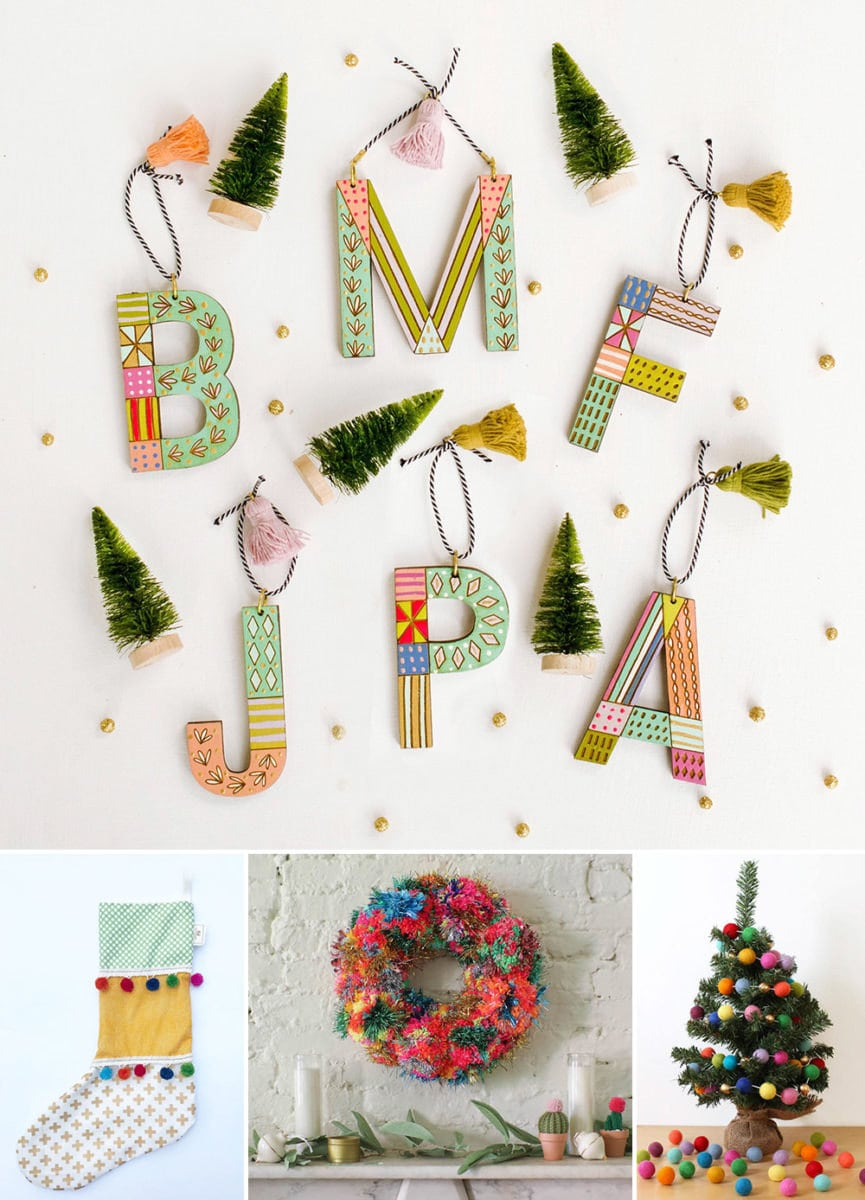 Colorful holiday decor with a maximalist vibe from Etsy