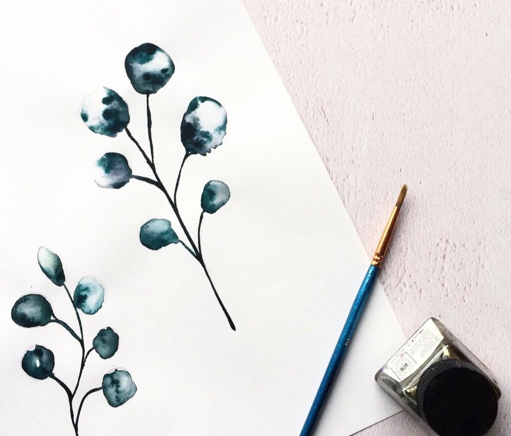 Botanical painting in progress.