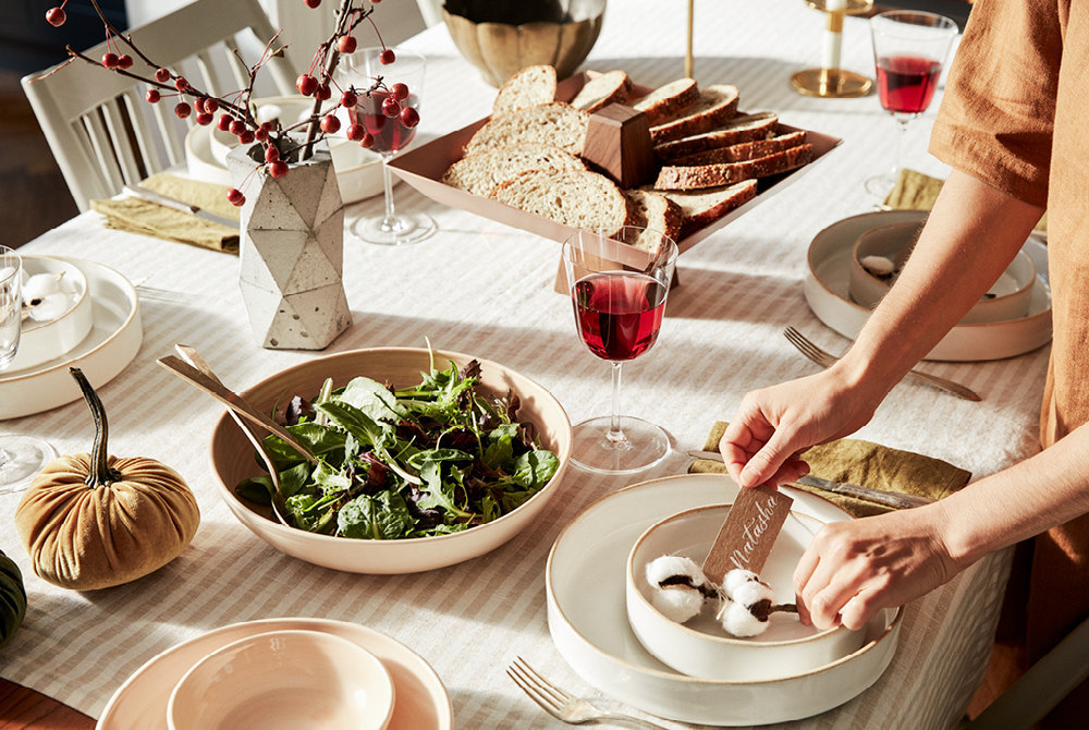 A festive table set for dinner and ready for seasonal entertaining